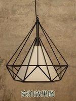 bedroom style ideas - New Style European retro industrial wind wrought iron birdcage diamond pendant modern American style loft idea bar restaurant study lamp