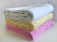 Wholesale Dropshipping Infant Blanket Solid White Newborn Baby Blanket Cotton Knitted Kids Blanket Unisex Blanket Size CM