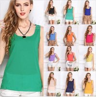 Wholesale Lady Summer Chiffon Blouse Fashion Shirts Casual Crop Tops Hot Tanks Sleeveless Loose Pullover Camisole Slim Strap Vest Camis Tees A746