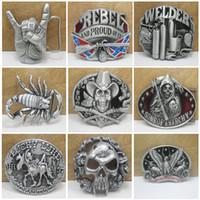 Wholesale 2016 Skull Gun Eagle Shrimp Cowboys Metal Belt Buckle Styles Texas Fashion Mens Western Badge Belt Buckle Buckles E876L
