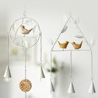 Wholesale resin birds metal Household adornment Vintage Home Decor Wind bell Bird Wind Chime Metal Wall Hanging