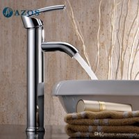 Wholesale AZOS Bathroom Basin Tap Brass Chrome Polish Color Single Hole Deck Mount Hot Cold Mixer Toilet Sink Faucet Furniture Replacements MPDKZ122