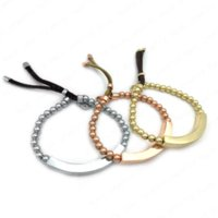 Wholesale Fashion Plaque Beads Bracelet Beaded Stretch charm bracelets jewellery brand jewelry for men women silver gold