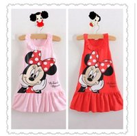 baby cat boat - New Summer Kids girls clothes cute Mickey Mouse Minnie Dress colors of red and pink mini Clothes KT cat baby girls dress