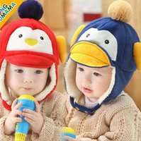 Wholesale Baby Cute Cartoon Animal Hat Newborn Toddler Boys Girls Penguin Plush Warm Caps Warmth and Velvet Stingy Brim Hats Christmas Gifts