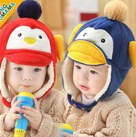 Wholesale Baby Cute Cartoon Animal Hat Newborn Toddler Boys Girls Penguin Plush Warm Caps Warmth and Velvet Stingy Brim Hats Christmas Gifts