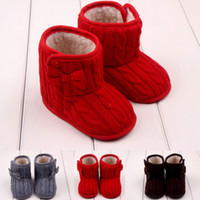 Wholesale Infant Baby Shoes Crochet Girls Boots Crochet Knit Fleece Kids Winter Snow Boots Wool Thick Warm Prewalker Booties with Bow Red Brown Gray