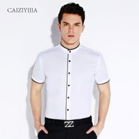 band collar dress shirts - Summer Mens Short Sleeve Banded Collar with Black Piping Dress Shirt Lightwight Casual Chinese Style Slim fit Cotton Shirts