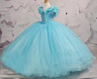 Wholesale Cinderella White Dress For Girls - 2017 Custom Light Blue Little Girls Pageant Dress For Teens Organza Cupcake Perfect Angels Kids Flower Girl Bridesmaids Cinderella Ball Gown