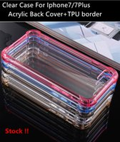 acrylic plugs - For IPhone Plus Case Slim Crystal Acrylic Hard Back TPU Soft Border Dustproof plug in Transparent Protective Cell Phone Case