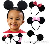 Wholesale 15pcs Children Hair Accessories Mickey Minnie Mouse Ears Headbands Birthday party Decoration Boys Girls headband Party Supplies