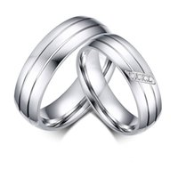 Wholesale Fashion Wedding Rings Titanium steel Ring Female Male Promise Ring Cubic Zirconia Couple Jewelry Sales Promotion TX