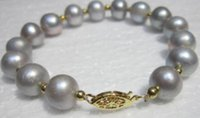 Wholesale NATURAL MM ROUND SOUTH SEA GENUINE GRAY PEARL BRACELET K
