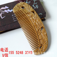 Wholesale Massage carved sandalwood Green sandalwood comb Green comb carved wooden comb Green Tan health gifts manufacturers gift comb Green