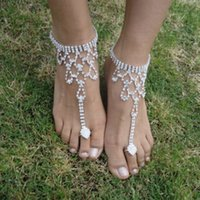Wholesale 2pcs wedding jewelry anklets rhinestone barefoot sandals crystal Silver ankle bracelets charms bracelets S0675