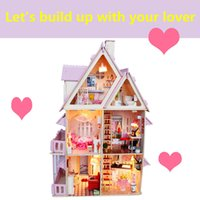 big house furniture - Girl house lover house Assemble DIY Miniature Model Wooden Doll House Big Size lover House Toy gift Furniture English instrution