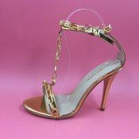 ankle strap sandles - Gold Kim Kardashian Women Sandals Chian T Strap Woman Shoes Summer Sapato Feminino High Heels Sandals Women Ladies Sandles
