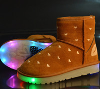 easter led lights - Hot Winter Boots For Women LED Shoes Black Yellow Light Up Shoes Luminous Women USB Charging Colorful Glowing Shoes Short Floss Snow Boots