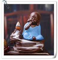 Wholesale 2016 HOT Back three little monk Yixing creative incense incense incense burner incense line ceramic Home Furnishing office car decoration