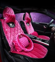 purple car seat covers - Fashion diamond lady pink plush witer warm car seat covers universal seats car models