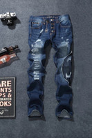 best modern punk - Best price trend PHILIPP pleinn men s patch luxury jeans denim pants punk man casual jeans TOP QUALITY size
