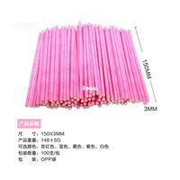 cake pop sticks - 100 Colorful Lollipop Stick CM Papen Cake Pop Sticks for Lollypop Lollipop Candy Chocolate Sugar Cudgel Pole Handle Rod