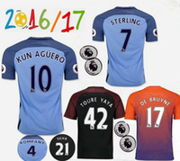 Wholesale Customized Thai Quality men Manchester City JERSEY home Away RD SILVA STERLING STONES TOURE YAYA KUN AGUERO Shirts Jersey