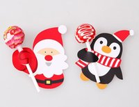 Wholesale 200 Cute Xmas Lollipop Lolly Pop Holder Tag Christmas Cake Pop Decor Gift Card CH1006D