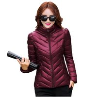 Wholesale ladies ultra light thin slim down jacket new autumn winter cotton padded women coat stand colors female outerwear kp0749