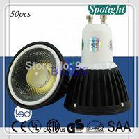 aluminum cast cover - 50pcs W LM Anti glare Dimmable COB LED Spot light Bulbs GU10 Black Cover Die Cast Aluminum