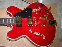Semi-Hollow Body best tremolo system - Best Selling Electric Guitar With tremolo system Red Hollow Jazz Guitar