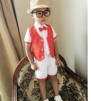 Wholesale Formal occasions of recreational little boy dress shorts in summer wedding dresses with fashion unique design two piece vest pants