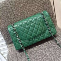 age check - Top quality brand green original caviar flap bag with aged silver hardware ladies quilted chain single shoulder bag cm
