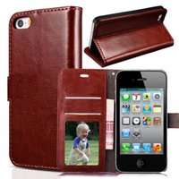 Wholesale Leather Case for Apple iPhone s iphone case iphone G Fashion Wallet Flip case Retro Cover for iphone4s Phone cases