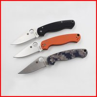 Wholesale Spyderco C81 Folding blade Knife G10 handle Military Tactical pocket Survival Knife hunting camping fishing fold knives colors