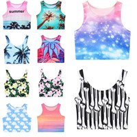 Women Tank Top Floral Sexy Summer Womens Girls Fashion Printed Sleeveless T Shirt Casual Cotton Club Crop Top Ladies Round Neck