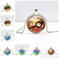 animal action games - Poke Mon Poke Ball Pendant Necklaces Antique Bronze Poket Monster Pendants Action Figures Nintendo Game Gemstone Necklaces Christmas Gift