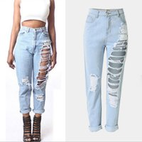 baggy boyfriend jeans - Destroyed ripped for women plus size baggy boyfriend with hole Distressed high waist jeans femme vaqueros mujer Sexy jeans
