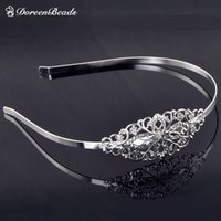 Wholesale Alloy Headband Oval Silver Plated Hollow Flower Pattern cm quot x mm quot Piece B20784S