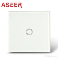 Wholesale Aseer Brand EU Gang Touch Light Switches Overload Protect Crystal Tempered Glass Panel blue LED indicator AC110 V