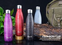 color bottle packaging - Cheapest ml Croco Stainless Steel Swell Bottle Vacuum Insulation s well bottle Cola bottle without logo with packaging DHL