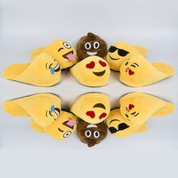 Wholesale 6 styles Emoji Cartoon Plush Slipper Shoes Emoji Soft Warm Household Winter Slippers for women and man cm