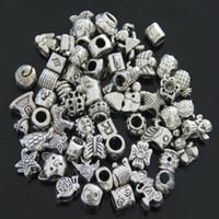 Wholesale 100pcs mix design Tibetan silver plated bead fit charms bracelet