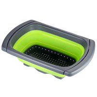 Wholesale 2016 Kitchen Collapsible Silicone Colander Strainer Expands to quot Over the Sink Basket Cooking Water Drainage Tools Accessories H16624