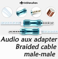 aluminium jacks - Aluminium Alloy Crytal Braided Woven Audio Cable mm Jack AUX Auxiliary Extended M cable for iphone S Samsung S6 HTC MP3