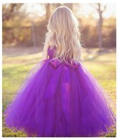 Wholesale 2016 NEW fashion Children princess dress Pompon veil Flower girl dresses Dresses Lovely big skirt tutu Children s dresses purpel dress