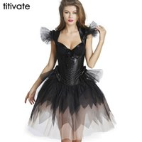 Wholesale Sexy Black Corset Lace Overbust Goth Steampunk Solid Corset Wedding Dress with Bow For Women Waist Training corset Skirt