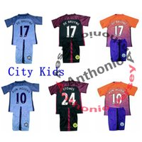 Wholesale KIDS soccer uniform kit soccer jerseys manchester city jersey KUN AGUERO DE BRUYNE SANE SILVA TOURE YAYA thai quality soccer jersey thailand