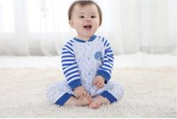 Wholesale WD The Spring And Autumn Whale Pattern Striped Piece Of Clothing New Baby Long Sleeved Cotton Clothes
