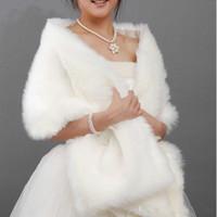 achat en gros de ainsi wrap taille châle-Lait Blanc Faux de 170x35 Fur Shrug Cape Stole Wrap mariée femmes Châle Wraps Jackets Plus Size Hot Sales